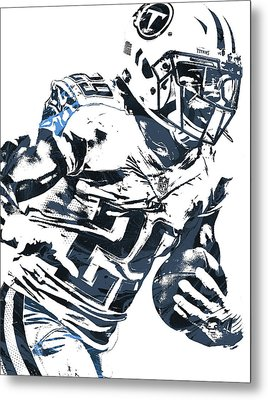 Metal Print featuring the mixed media Demarco Murray Tennessee Titans Pixel Art 2 by Joe Hamilton