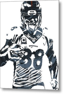 Demaryius Thomas Denver Broncos Pixel Art Metal Print by Joe Hamilton