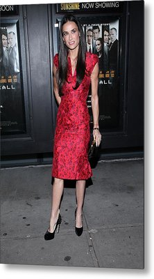 Demi Moore  Wearing A Zac Posen Dress Metal Print by Everett