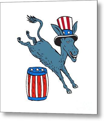 Democrat Donkey Mascot Jumping Over Barrel Cartoon Metal Print