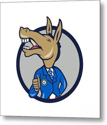 Democrat Donkey Mascot Thumbs Up Circle Cartoon Metal Print