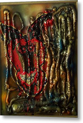 Metal Print featuring the painting Demon Inside by Lisa Piper