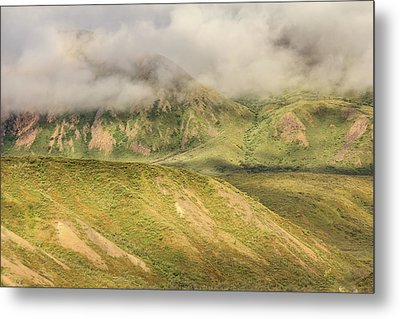 Denali National Park Mountain Under Clouds Metal Print