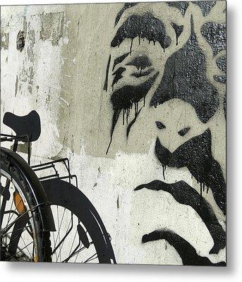 Denmark, Copenhagen Graffiti On Wall Metal Print by Keenpress