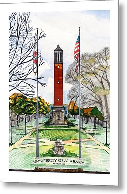 Denny Chimes At University Of Alabama Metal Print by Yang Luo-Branch