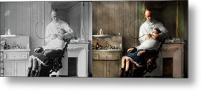 Metal Print featuring the photograph Dentist - Good Oral Hygiene 1918 - Side By Side by Mike Savad
