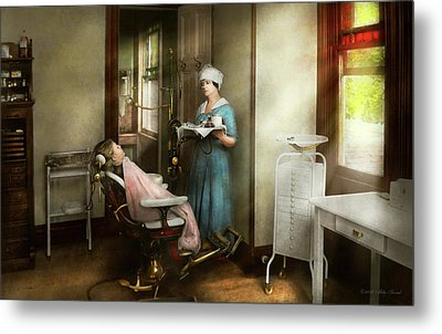Metal Print featuring the photograph Dentist - Patients Is A Virtue 1920 by Mike Savad