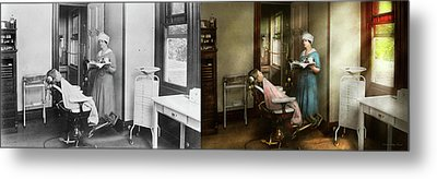Metal Print featuring the photograph Dentist - Patients Is A Virtue 1920 - Side By Side by Mike Savad