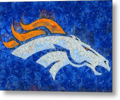 Denver Broncos Painted Logo Metal Print by Dan Sproul