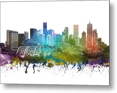 Denver Cityscape 01 Metal Print by Aged Pixel