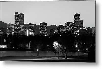 Metal Print featuring the photograph Denver Colorado Mountain Skyline Black And White by Gregory Ballos