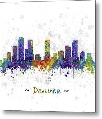 Denver Colorado Skyline Color 03sq Metal Print by Aged Pixel