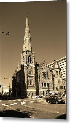 Metal Print featuring the photograph Denver Downtown Church Sepia by Frank Romeo