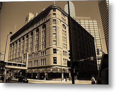 Metal Print featuring the photograph Denver Downtown Sepia by Frank Romeo