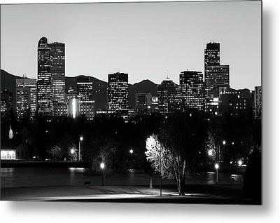 Denver Downtown Skyline - Mile High City - Black White Metal Print by Gregory Ballos
