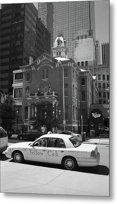 Denver Downtown With Yellow Cab Bw Metal Print by Frank Romeo