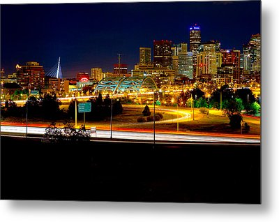 Denver Night Skyline Metal Print by James O Thompson