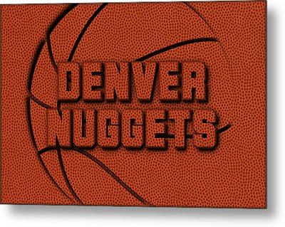 Denver Nuggets Leather Art Metal Print by Joe Hamilton