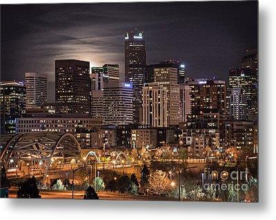 Denver Skyline At Night Metal Print