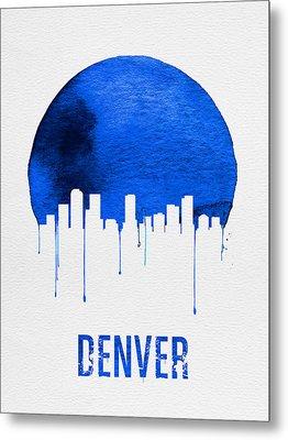 Denver Skyline Blue Metal Print by Naxart Studio