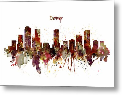 Metal Print featuring the mixed media Denver Skyline Silhouette by Marian Voicu