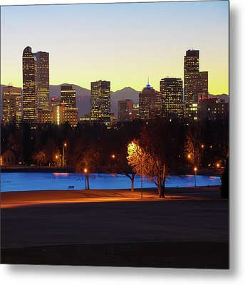 Metal Print featuring the photograph Denver Skyline Square Format - Colorful by Gregory Ballos