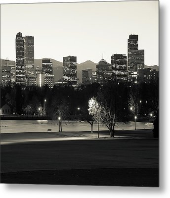 Metal Print featuring the photograph Denver Skyline Square Format - Monochrome by Gregory Ballos