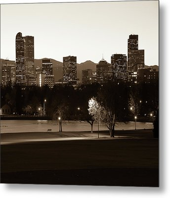 Metal Print featuring the photograph Denver Skyline Square Format - Sepia by Gregory Ballos