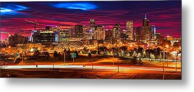 Denver Skyline Sunrise Metal Print