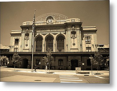 Metal Print featuring the photograph Denver - Union Station Sepia 5 by Frank Romeo