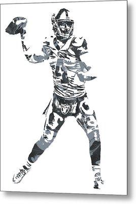 Derek Carr Oakland Raiders Pixel Art 11 Metal Print