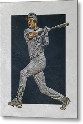 Derek Jeter New York Yankees Art 2 Metal Print by Joe Hamilton