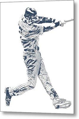 Derek Jeter New York Yankees Pixel Art 10 Metal Print