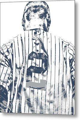 Derek Jeter New York Yankees Pixel Art 11 Metal Print