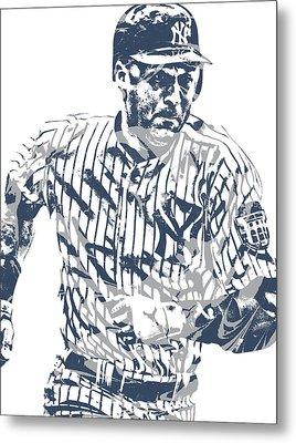 Derek Jeter New York Yankees Pixel Art 12 Metal Print