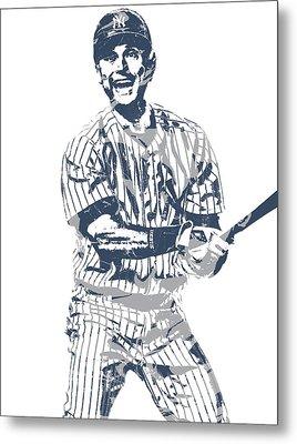 Derek Jeter New York Yankees Pixel Art 13 Metal Print
