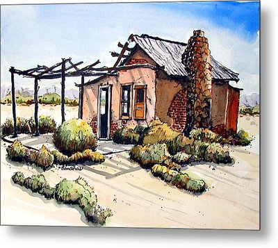 Metal Print featuring the painting Desert Cabin by Terry Banderas