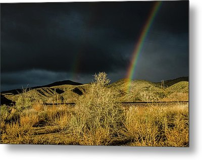 Desert Double Rainbow Metal Print