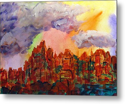 Metal Print featuring the painting Desert Fortress by Arlene Holtz