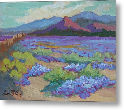 Metal Print featuring the painting Desert In Bloom by Diane McClary
