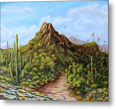 Desert Landscape Gambel's Quail Metal Print by Judy Filarecki