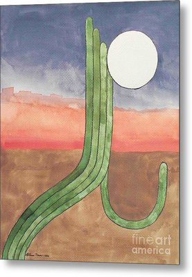 Metal Print featuring the painting Desert Moon by LeAnne Sowa