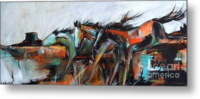Metal Print featuring the painting Desert Racers by Cher Devereaux