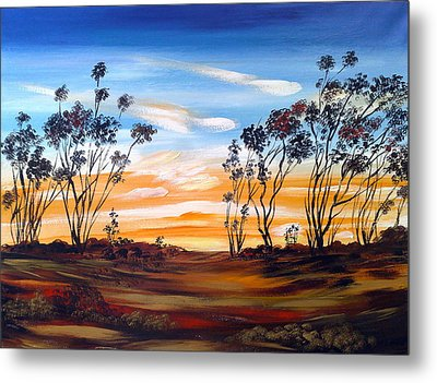 Metal Print featuring the painting Desert Sunset by Roberto Gagliardi