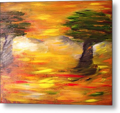 Metal Print featuring the painting Desert Trees by Evelina Popilian