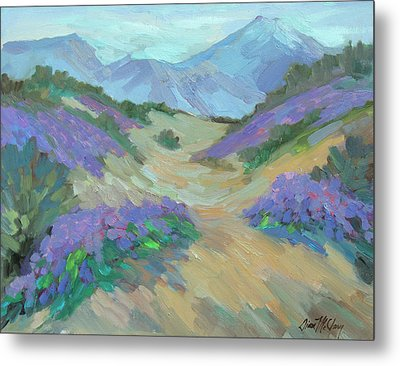 Metal Print featuring the painting Desert Verbena by Diane McClary