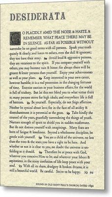 Desiderata Poem On Parchment Metal Print
