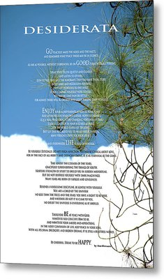 Desiderata Poem Over Sky With Clouds And Tree Branches Metal Print by Claudia Ellis
