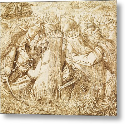 Design For Moxon's Tennyson - King Arthur And The Weeping Queens Metal Print