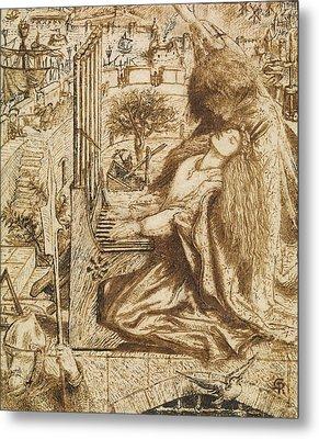 Design For Moxon's Tennyson - Saint Cecilia Metal Print by Dante Gabriel Rossetti